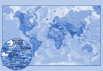 Printed Space: Blue world map